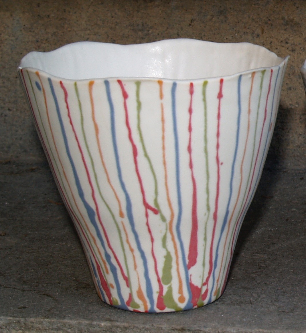 Small porcelain bowl with colourful stripes