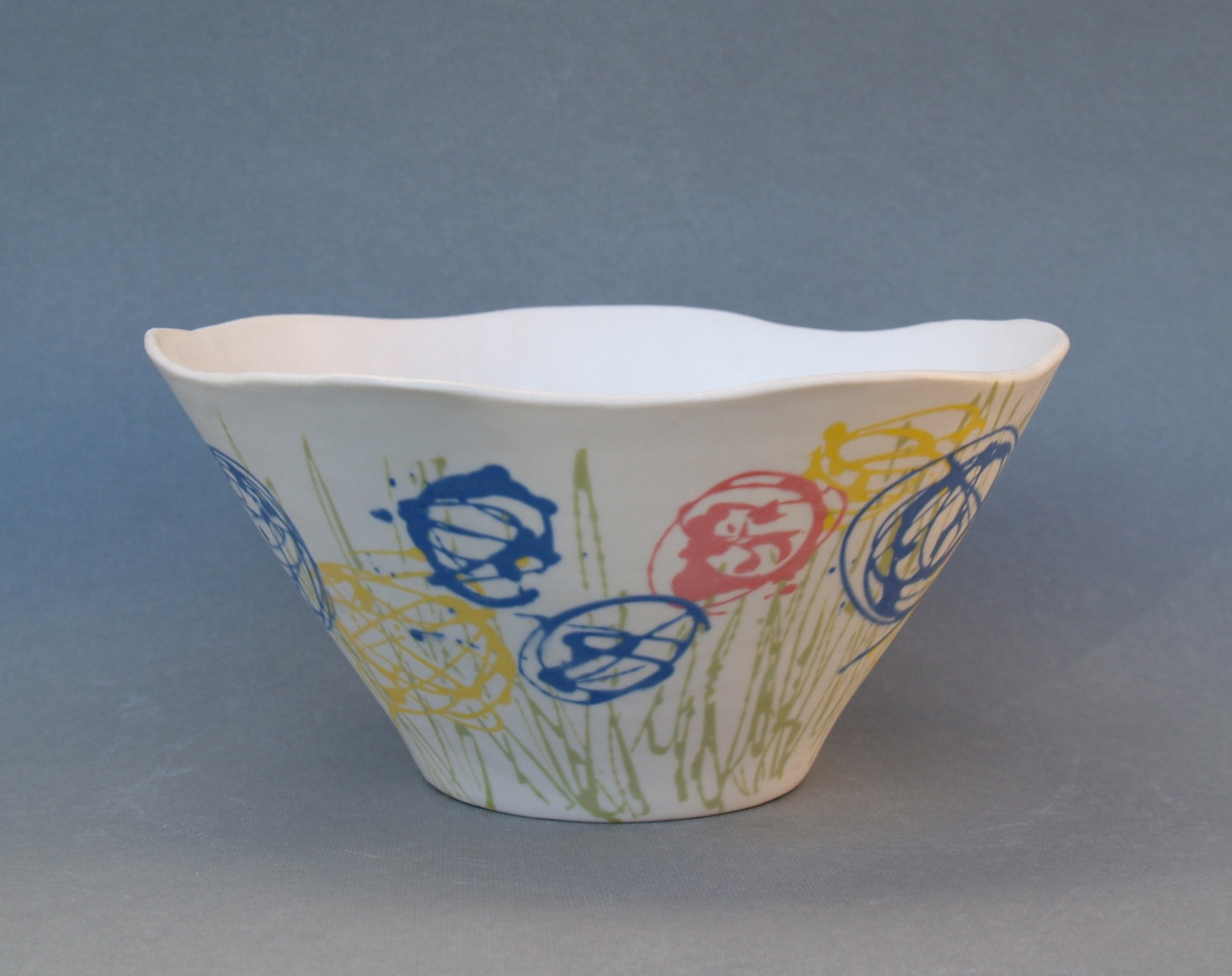 Small porcelain bowl with abstract flowers