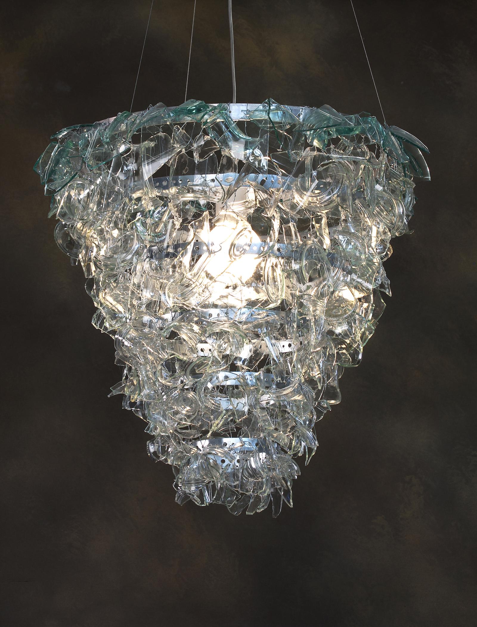 Large chandelier made of broken glass