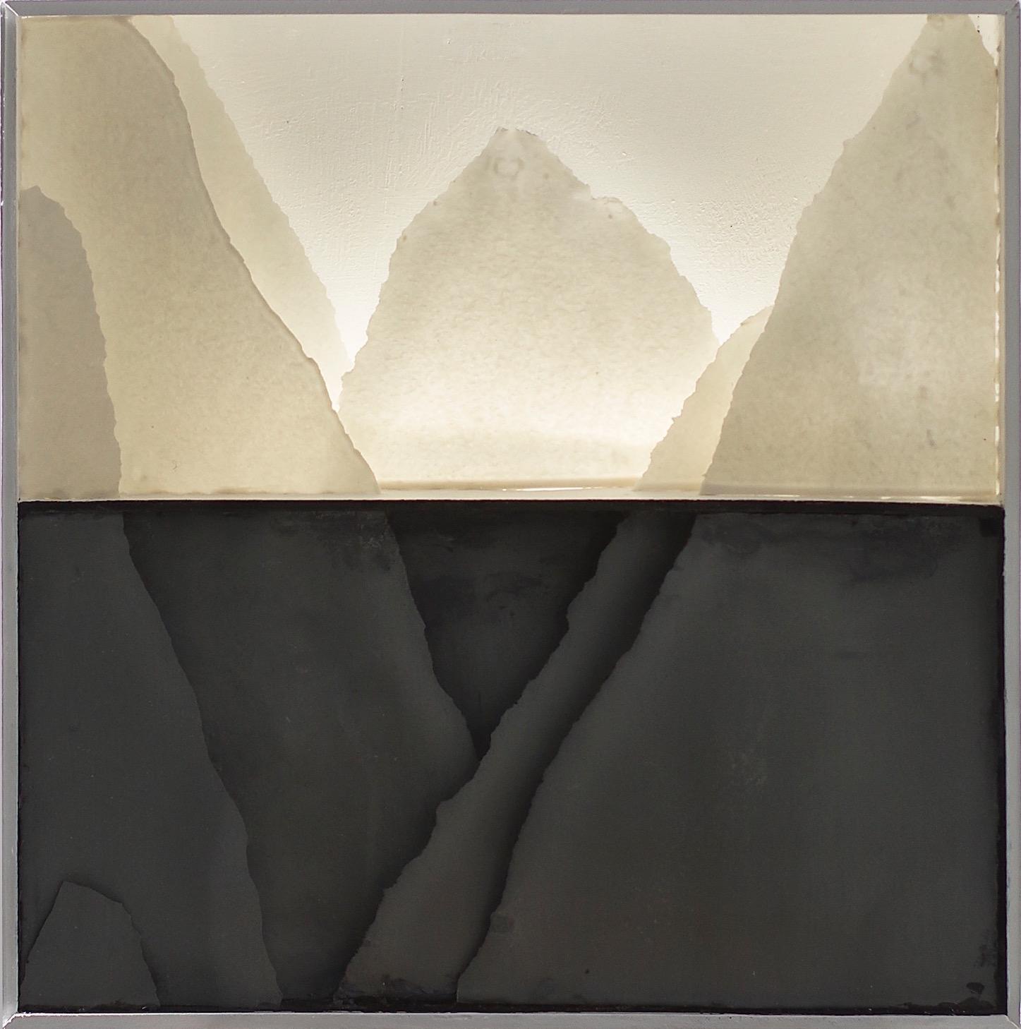 Dark waters - backlit porcelain landscape diorama