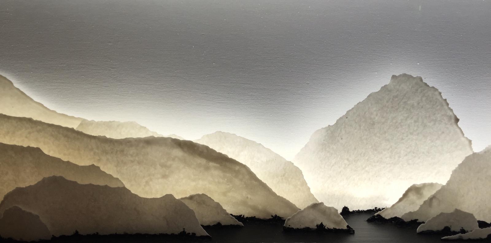 Backlit porcelain landscape diorama