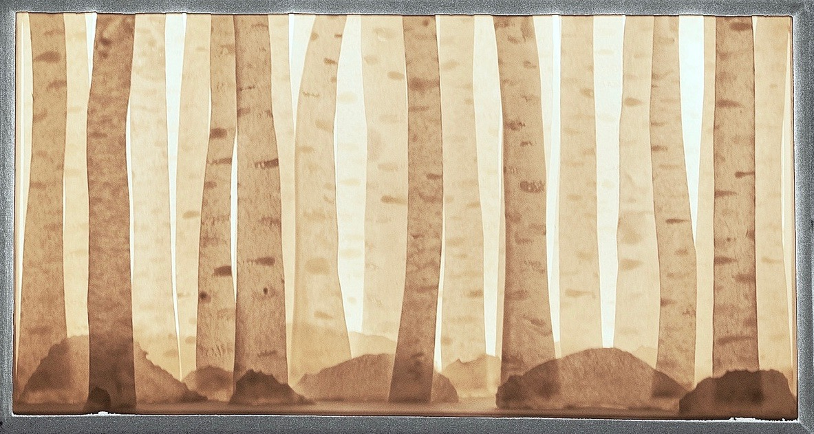 Backlit porcelain birch tree forrest diorama