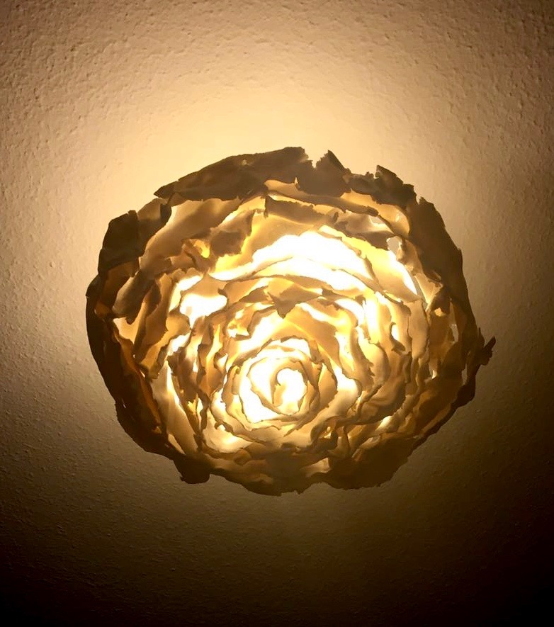 Porcelain abstract rose plafond lamp