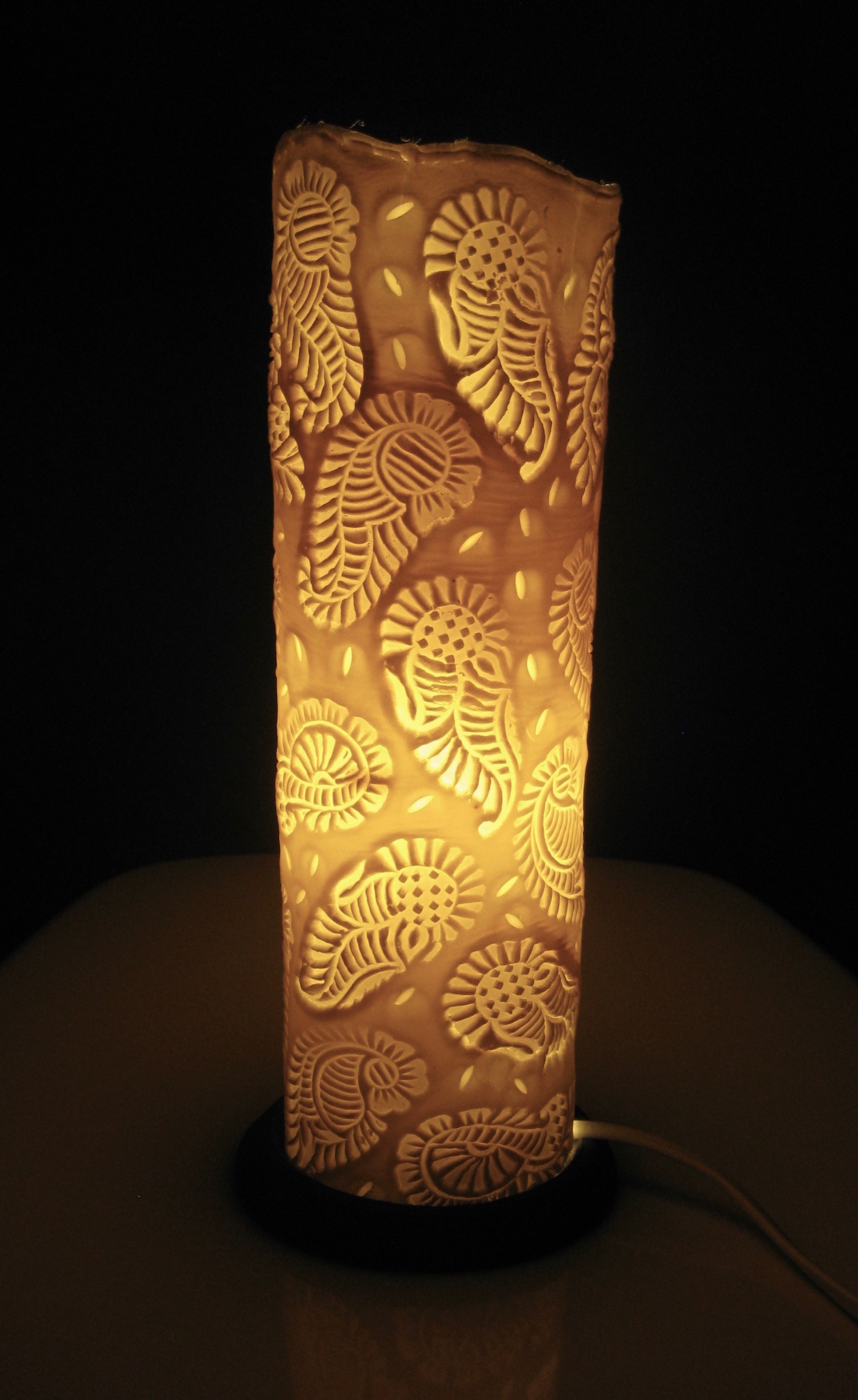 Cylinder shaped table lamp with indian block printed paisley pattern